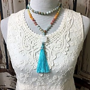 SALE - Gemstone Necklace with Tassel
